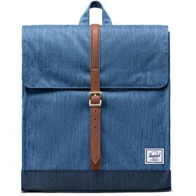 Herschel City Mid-Volume Backpack 14l faded denim/indigo denim/tan synthetic leather